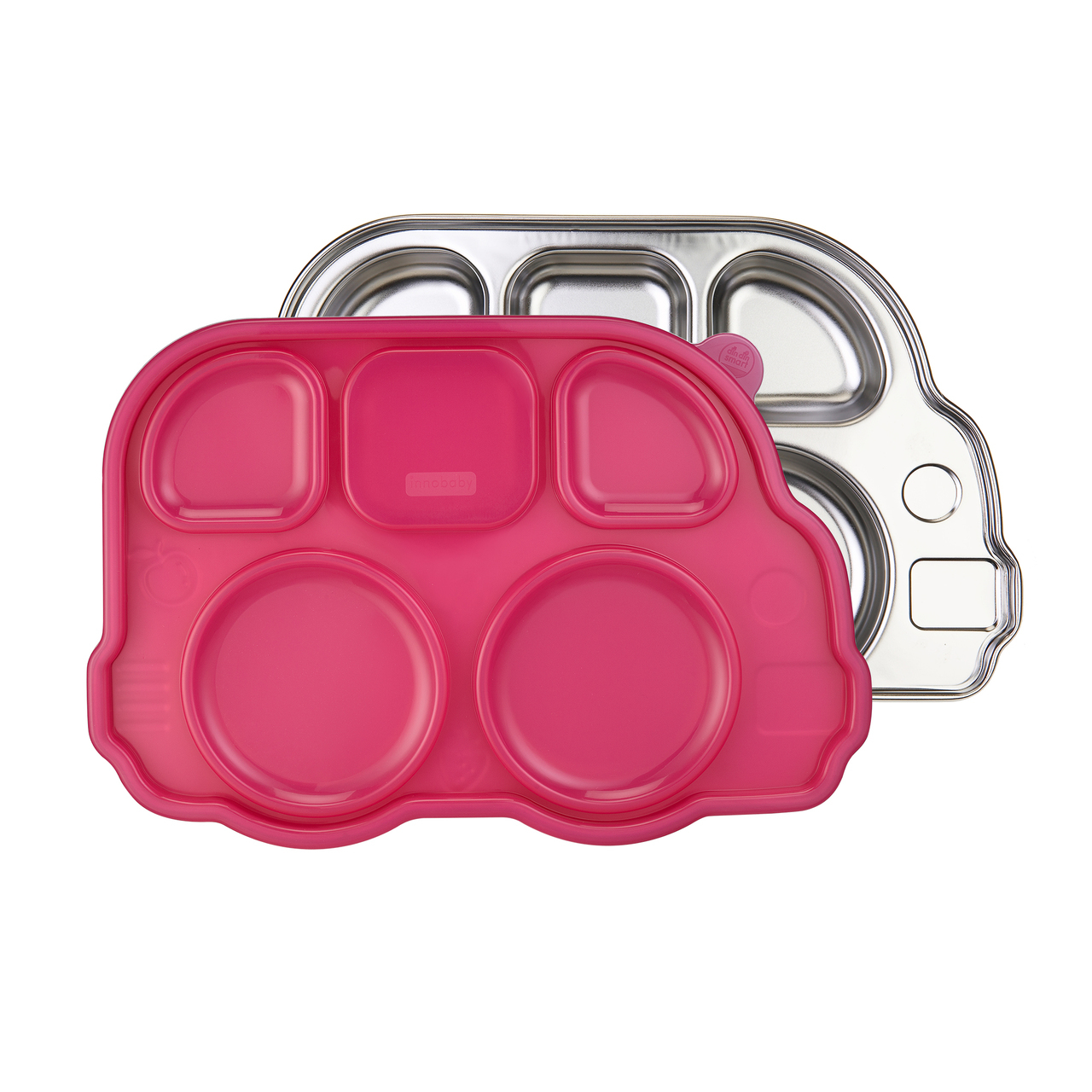 Innobaby Din Din Smart Stainless Divided Platter with Sectional Lid, Stainless Steel Divided Plate for Babies, Toddlers and Kids, BPA free plate (PINK)