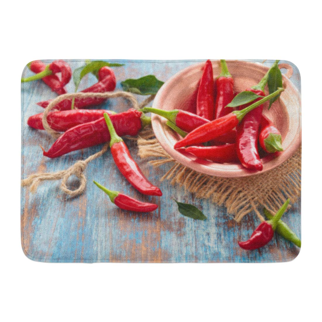 GODPOK Hot Red Table Chili Peppers in Copper Plate Wooden Rustic Rug Doormat Bath Mat 23.6x15.7 inch