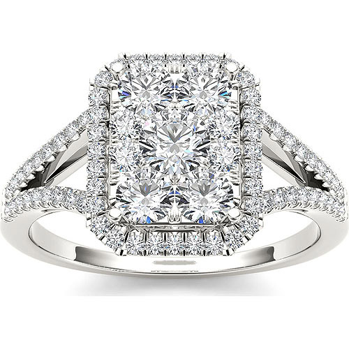 Imperial 1 Carat T.W. Diamond Cluster 10kt White Gold Engagement Ring