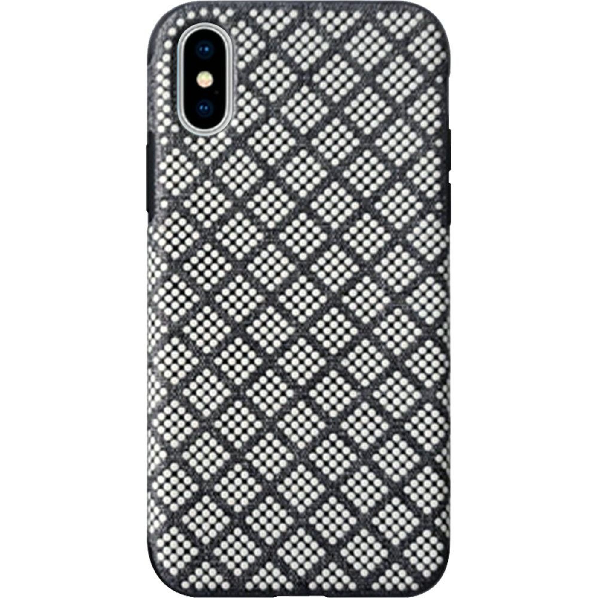 Apple iPhone XS Max Case, by Insten Rasied Dots Hard Plastic/Soft TPU Rubber Dual Layer [Shock Absorbing] Hybrid Fabric Case Cover For Apple iPhone XS Max