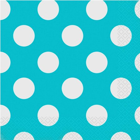 Terrific Teal Polka Dot Party Lunch Napkins, 45ct - Polka Dot Tableware