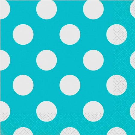 Terrific Teal Polka Dot Party Lunch Napkins, 45ct