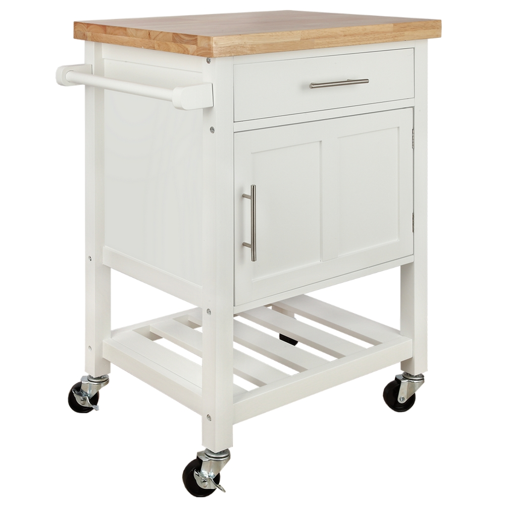 Homegear Kitchen Cart Butchers Block with Shelf and Cabinet on Wheels White  - Walmart.com