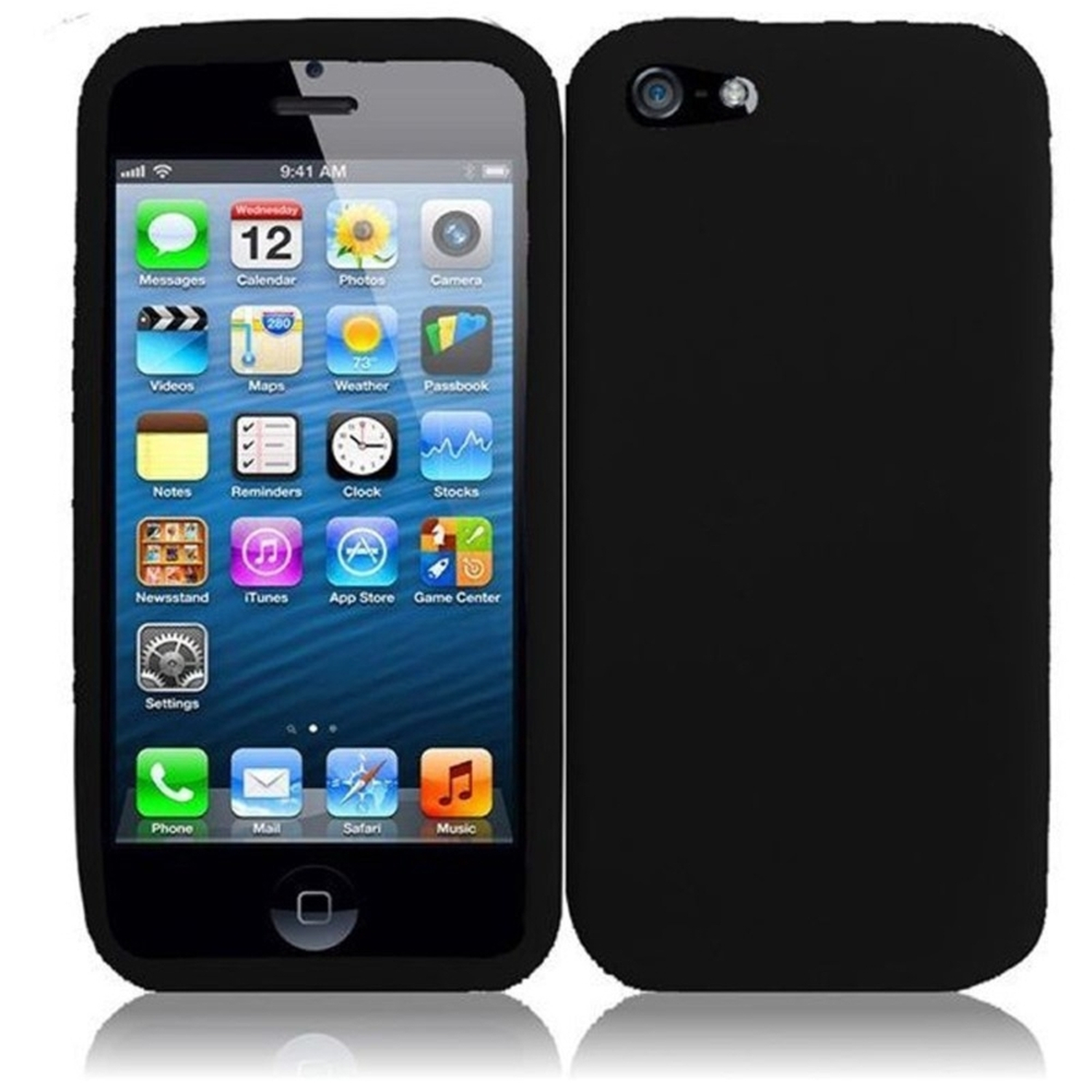 Insten For Apple iPhone SE 5 Silicone Skin Case Black