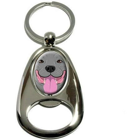 Pit Bull Blue Nose Gray, Pitbull American Staffordshire Terrier Dog Pet, Chrome Plated Metal Spinning Oval Design Bottle Opener Keychain Key