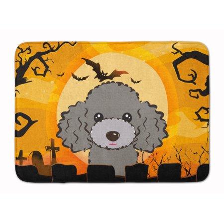 Halloween Silver Gray Poodle Machine Washable Memory Foam Mat - Halloween 1817