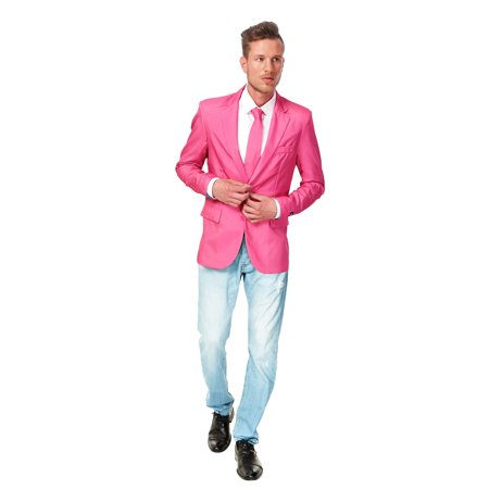 12a6e4fff Suitmeister - Mens Solid Pink Suit Blazer Sport Jacket and Tie By ...