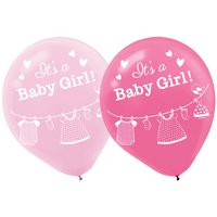 Baby Shower 'Shower with Love' Girl Latex Balloons (15ct)