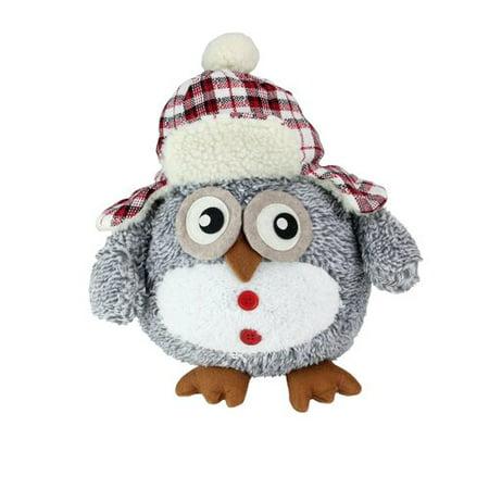Northlight Seasonal Owl with Plaid Bomber Cap Plush Table Top Christmas Figure