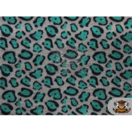 """Fleece Printed Fabric LEOPARD GREY GREEN / 58"""" Wide / Sold by the yard S-496"""