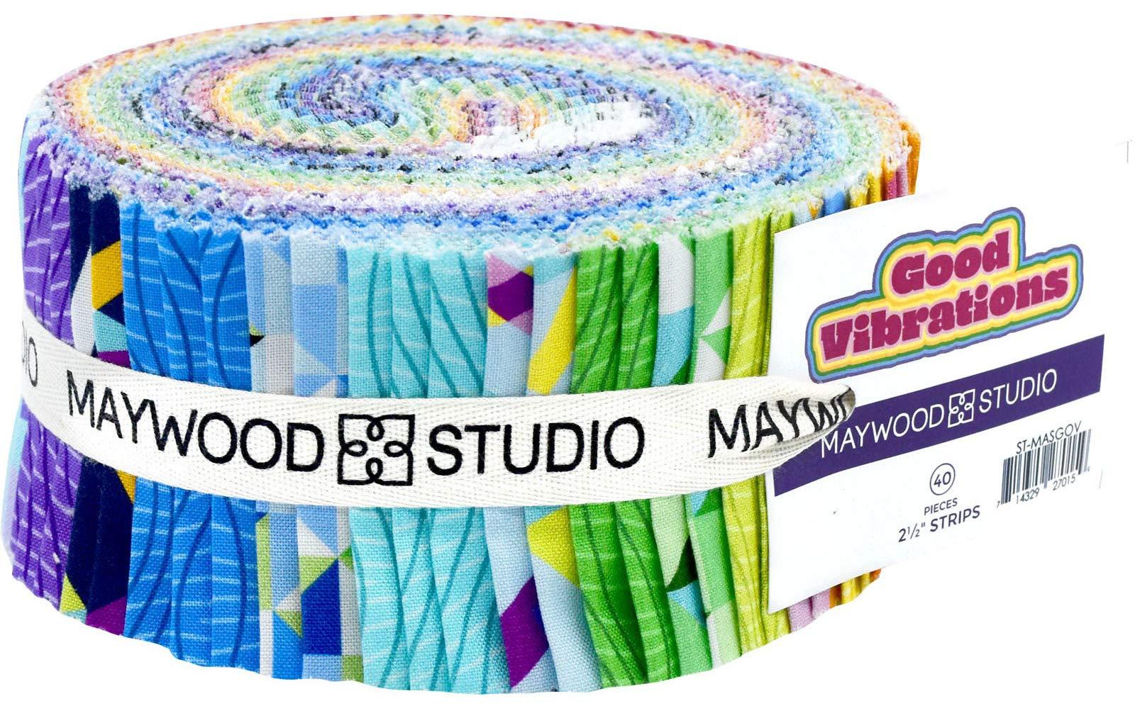 Watercolor Hydrangeas Strips 40 2.5-inch Strips Jelly Roll Maywood Studio