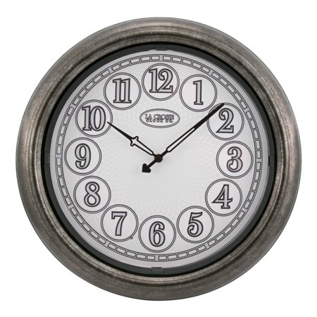 La Crosse Clock 403-3246 18 Inch Indoor/Outdoor Lux Lighted Dial Wall Clock in Antique Nickel finish