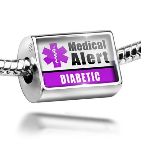 Bead Medical Alert Purple Diabetic Charm Fits All European Bracelets