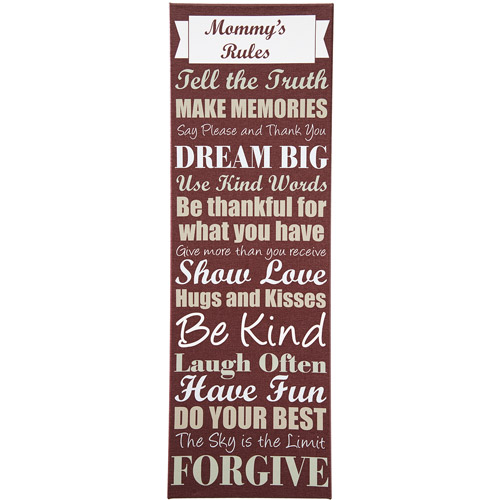 "Personalized Mom's Rules Canvas, 27"" x 9"""
