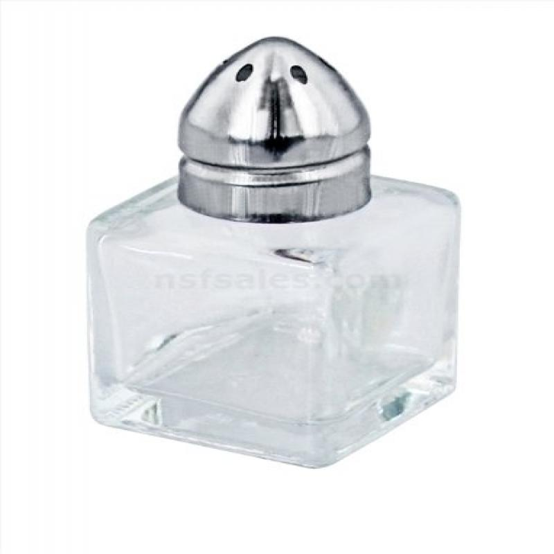 New Star Foodservice 22254 Glass Cube Mini Salt and Pepper Shaker with Stainless Steel Top, 0.5-Ounce, Set of 48 by New Star Foodservice Inc.