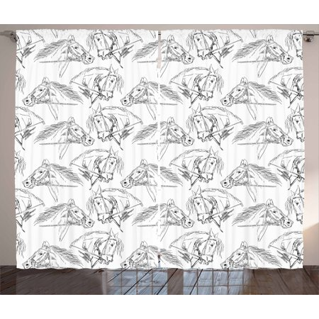 Harness Living Room Set (Horses Curtains 2 Panels Set, Sketch of Arabian Mare Monochrome Animal Portrait with Harness Riding the Stallion, Window Drapes for Living Room Bedroom, 108W X 63L Inches, Black White, by)