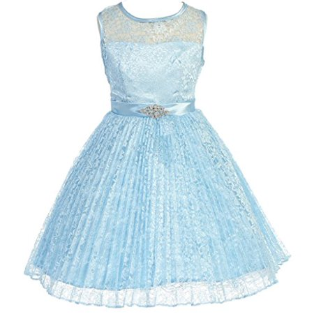 Flower Girl Dress Pleated Lace See Through Shoulder for Big Girl Baby Blue 10 GG3527