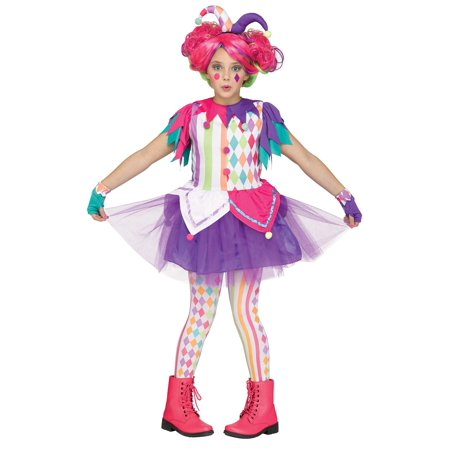 Harlequin Joker Jester Circus Vibrant Colorful Funny Child Halloween Costume - Women Circus Costumes