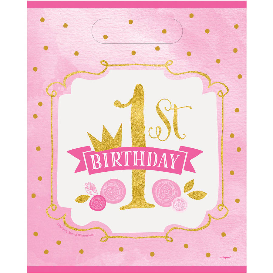 Pink and Gold Girls First Birthday Favor Bags, 8ct