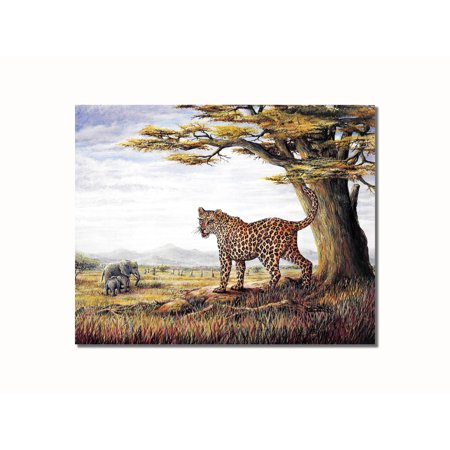 African Savannah Cheetah with Elephants Wall Picture 8x10 Art (Two African Cheetahs)