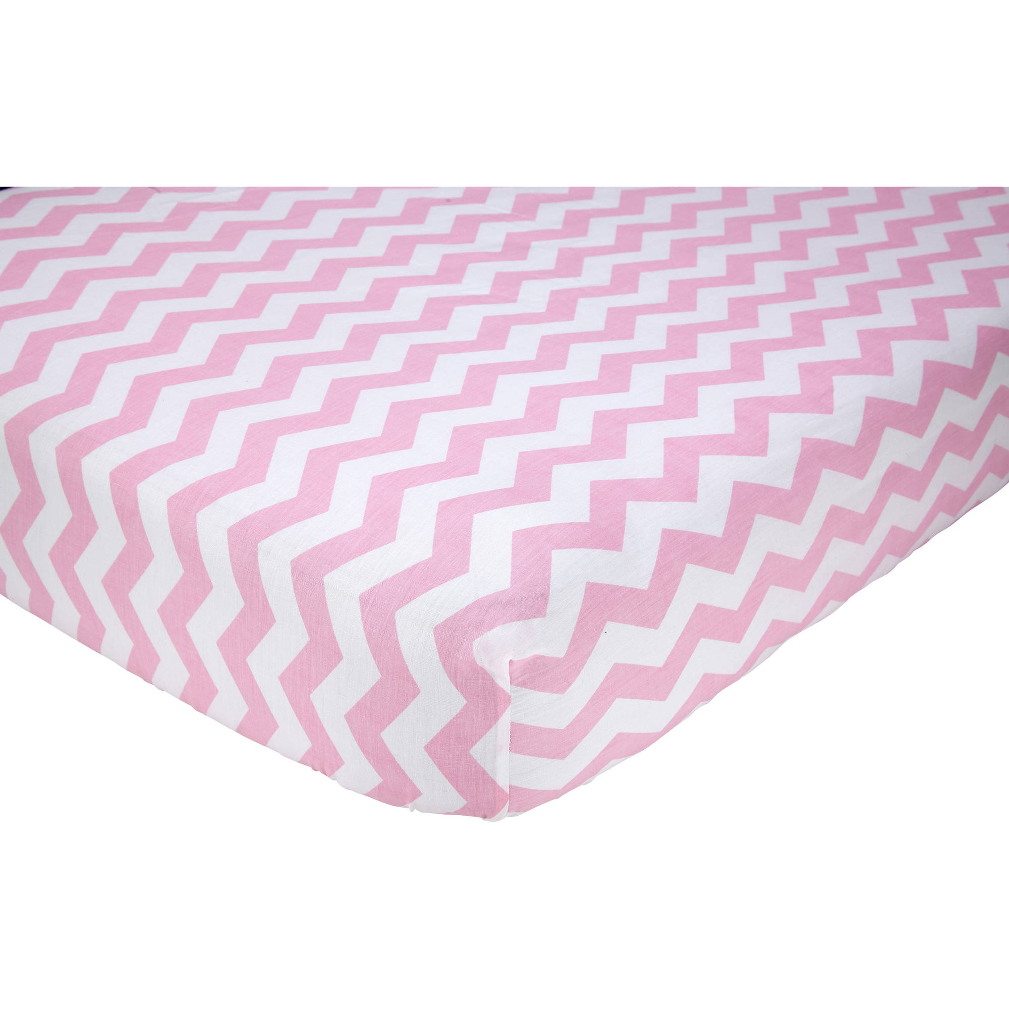 Little Love Chevron Crib Sheet, Pink/White