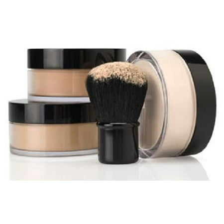 4 Pc KIT w/ KABUKI Mineral Makeup Set Bare Skin Sheer Powder Foundation Cover (Light) - Halloween Makeup For Black Skin