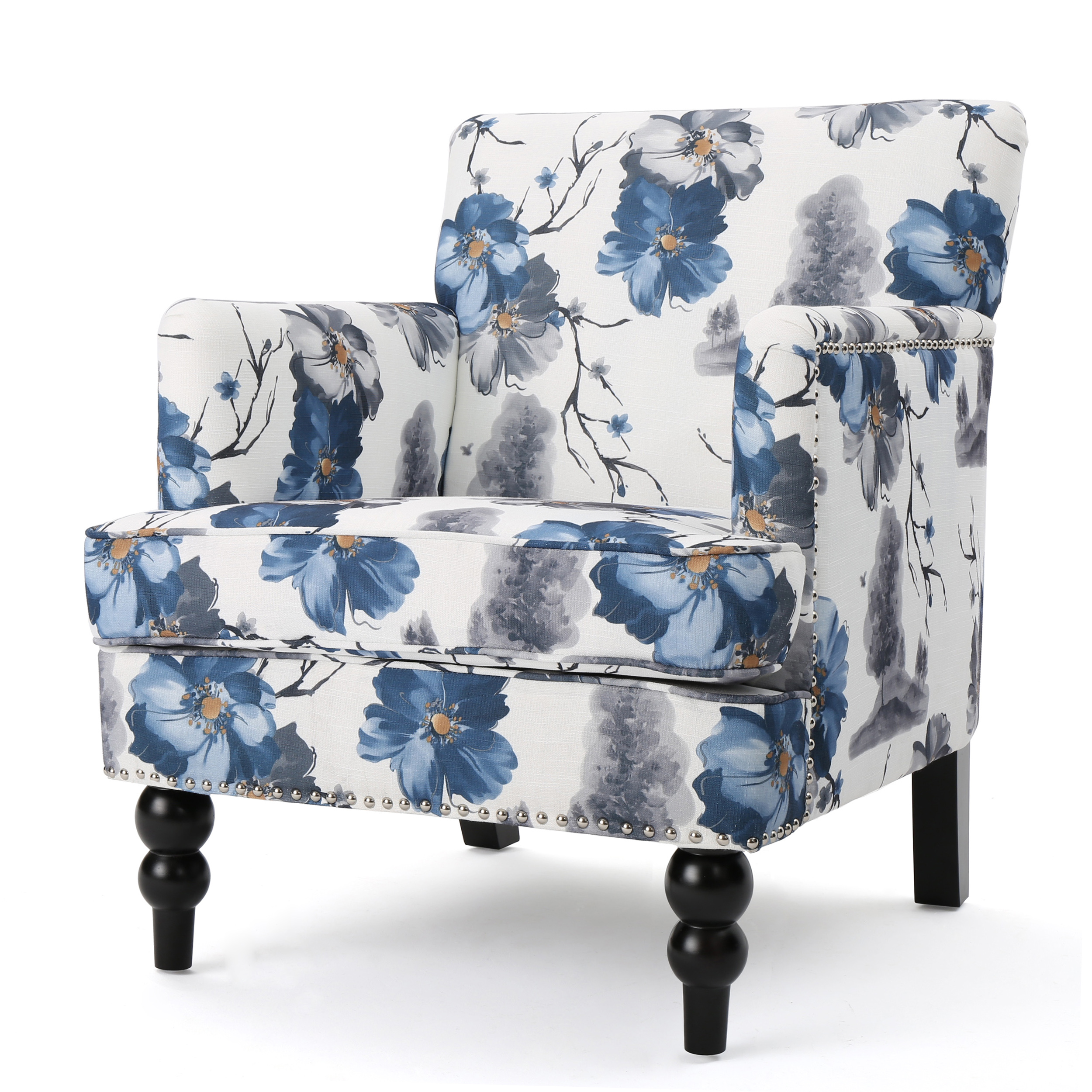 Manet Fabric Club Chair, Floral Print