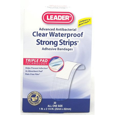 Leader Clear Waterproof Strong Strips, 1inX3.25in, 20ct