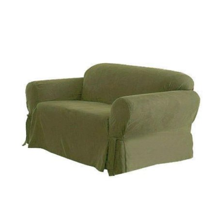 Chezmoi Collection Soft Micro Suede Solid Sage Loveseat Cover Slipcover with Elastic Band Under Seat Cushion, Green, 100% Polyester By Green Living Group