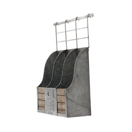 Decmode Farmhouse 3-Bottle Wine Metal And Wood Holder, Gray