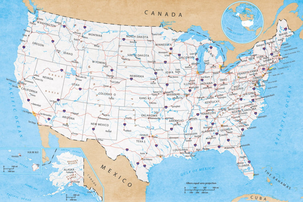 Map of United States USA Roads Highways Interstate System Travel