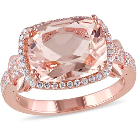 Tangelo 5-1/4 Carat T.G.W. Simulated Morganite and Cubic Zirconia Rose Rhodium-Plated Sterling Silver Halo Cocktail Ring