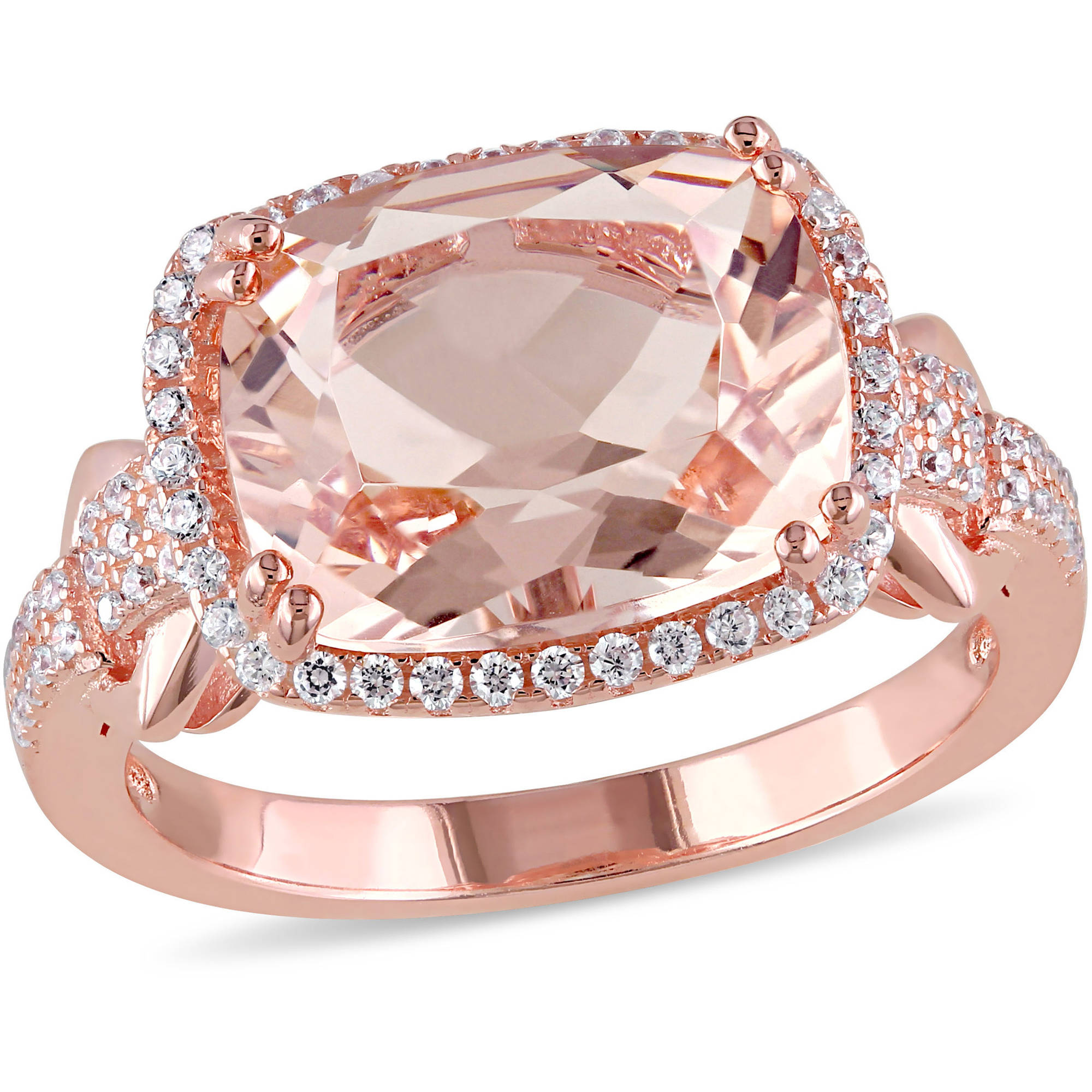 5-1/4 Carat T.G.W. Simulated Morganite and Cubic Zirconia Rose Rhodium-Plated Sterling Silver Halo Cocktail Ring