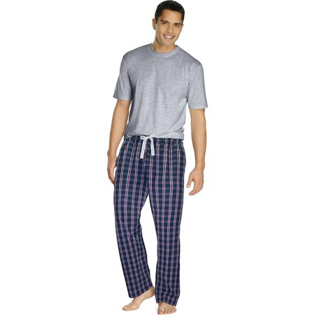 Hanes Men's Sleep Set with Woven Knit Pants , Size - L