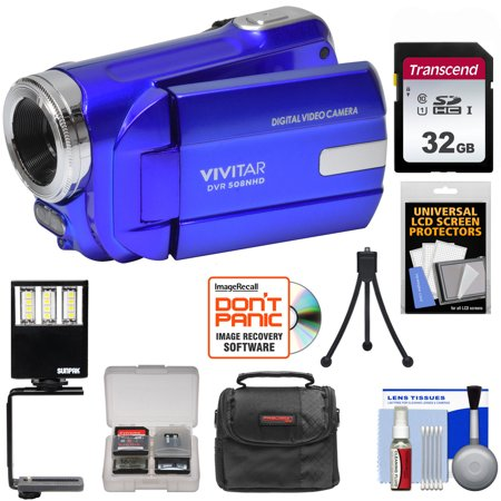 Vivitar DVR-508 HD Digital Video Camera Camcorder (Blue) with 32GB Card + Case + LED Video Light + Tripod + Kit