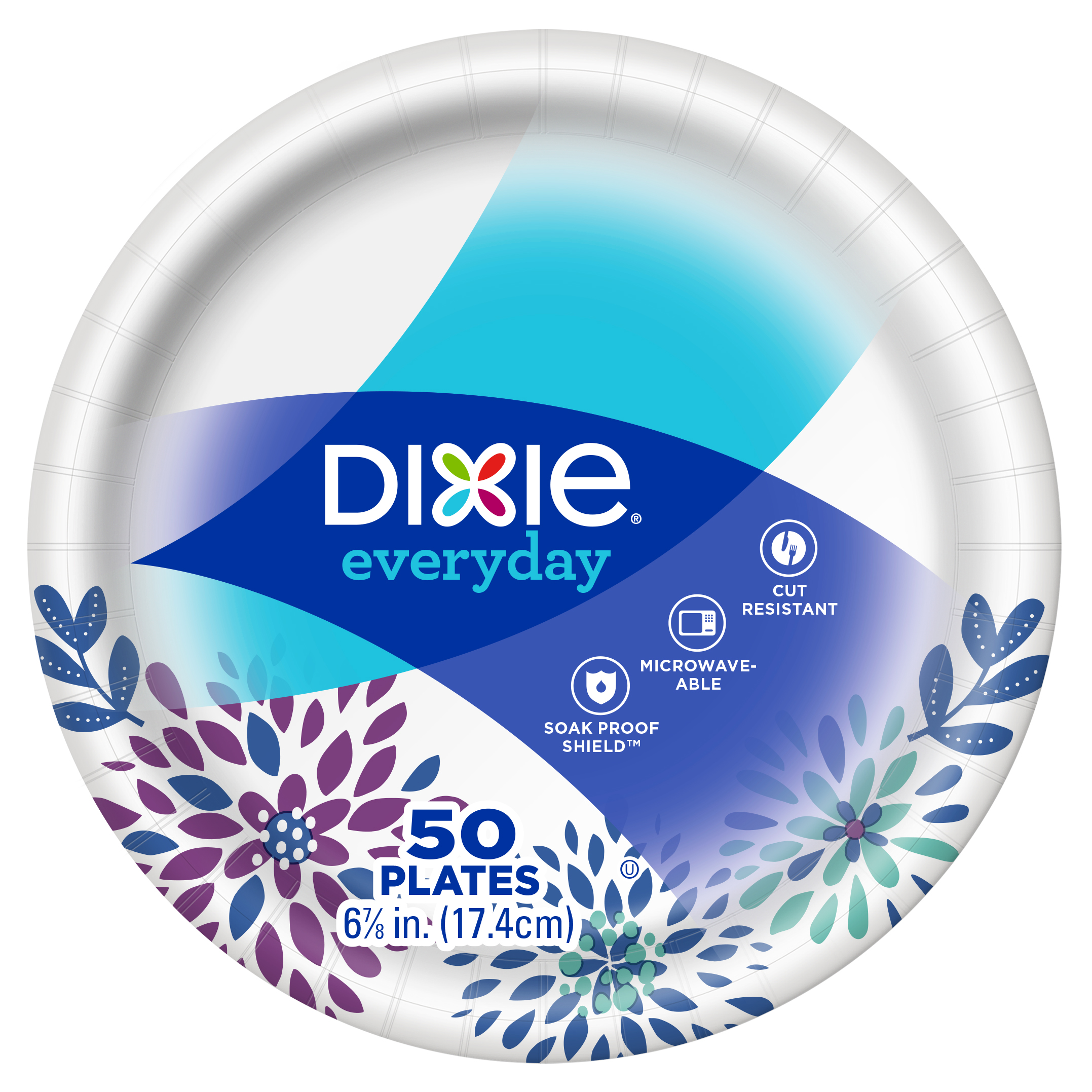 "Dixie Everyday Snack/Dessert Paper Plates 50ct, 7"" size"