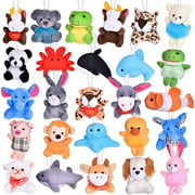 26 Pack Mini Animals Plush Toy Assortment, Cute Stuffed Animals Keychain Toy for Classroom Prizes, Party Favors, Goodie Bag Fillers F-307