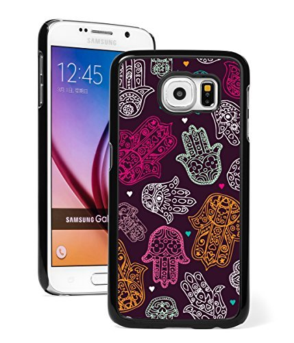Samsung Galaxy S7 Hard Back Case Cover Hamsa Hands Yoga Om (Black )