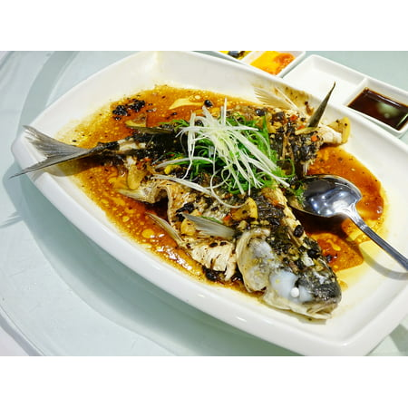 LAMINATED POSTER Cuisine Dark Sauce Steamed Meal Seafood Fish Poster Print 24 x