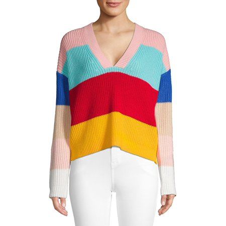 V-Neck Rainbow Knit Sweater