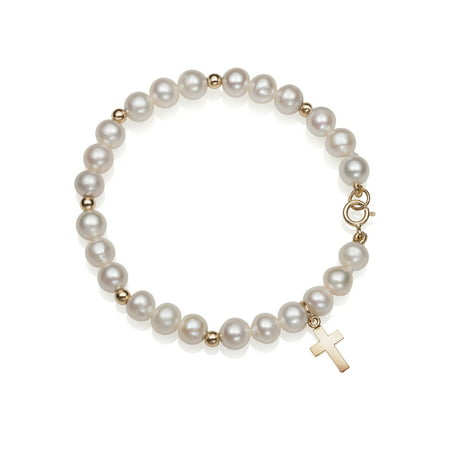 Girls' Cultured Freshwater Pearl 14K Yellow Gold Religious Faith Cross Charm Bracelet, - Pearl Genuine Charm