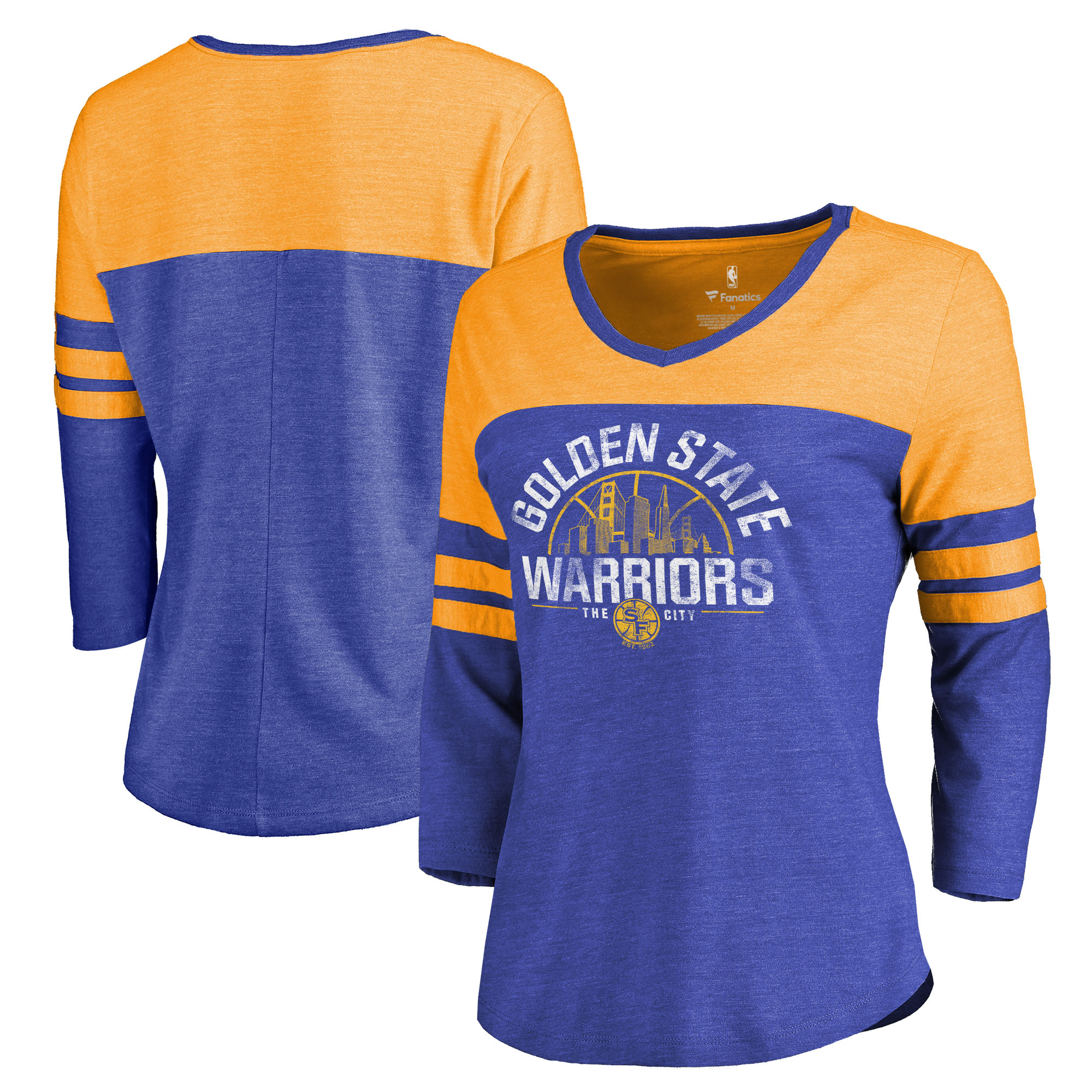 Golden State Warriors Fanatics Branded Women's Golden Gate Hometown Collection Three-Quarter Sleeve Tri-Blend T-Shirt - Royal