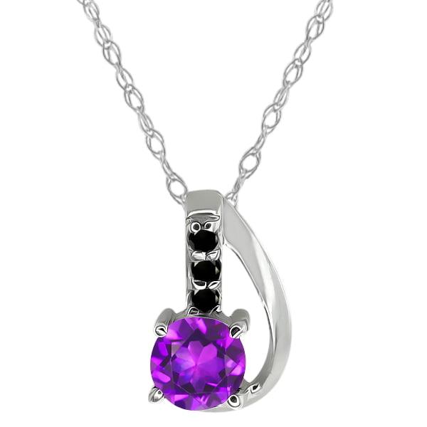 0.39 Ct Round Purple Amethyst and Black Diamond Sterling Silver Pendant