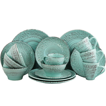 Elama Malibu Waves 16-Piece Dinnerware Set in Turquoise ()
