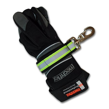 Lightning X Heavy-Duty Firefighter Turnout Gear Glove Strap w/ Reflective, Black nylon webbing underneath florescent lime-yellow webbing with.., By Lightning X Products ()