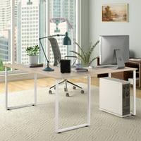 "Merax 59"" L-Shaped Desk with Metal Legs Office Desk Corner Computer Desk PC Laptop Table Workstation"