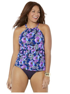 Swimsuits For All Women's Plus Size High Neck Tankini Set