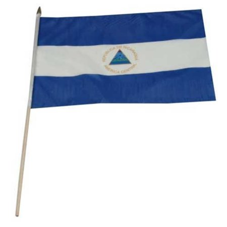 Nicaragua Flag 12 by 18-Inch, Mounted on a 24 inch wooden staff By US Flag Store,USA ()