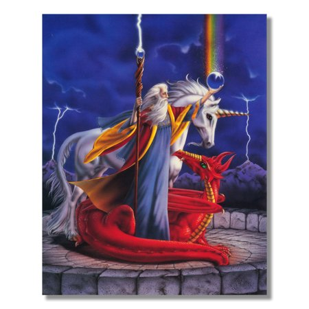 Wizard Of Oz 8x10 Photo (Storm Wizard with Fire Dragon and Unicorn Fantasy Wall Picture 8x10 Art Print )