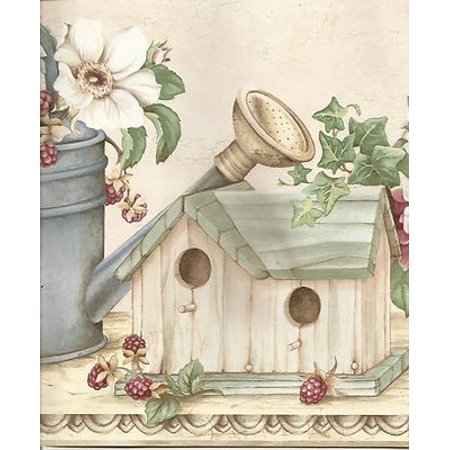 Birdhouses Wallpaper Border - 877540 Watering Cans Birdhouses Wallpaper Border MY1925b